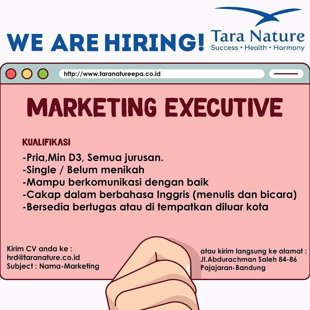 Lowongan Kerja Marketing Executive Tara Nature Bandung Desember 2017
