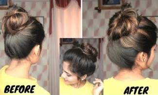 How To : Pull-out Hair To create Volume in Thin Hair | Volumized Messy Bun