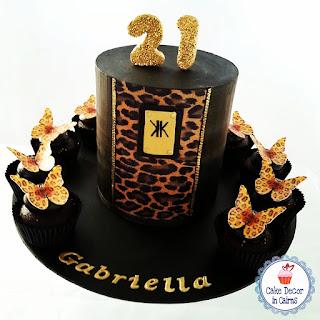 Kim Kardashian Inspired Cake Leopard Skin Edible Print Black Ganache Chocolate Extended Tier Mudcake Edible Butterflies 21st Cake