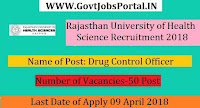Rajasthan University of Health Science Recruitment 2018 - Govt Jobs  For 50 Drug Control Officer