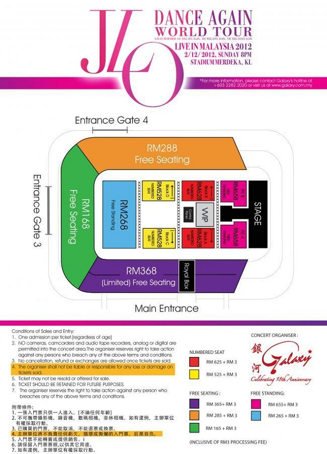 Seating positions and Stage Map for Jennifer Lopez Live In Malaysia Concert 2012
