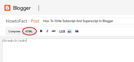 How To Write Subscript And Superscript In Blogger
