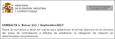 BOICAC 111 consulta 1 auditoría Sobre la normativa a tener en cuenta para determinar el primer ejercicio en el cómputo del plazo de contratación a efectos de establecer la obligación de rotación en determinadas circunstancias.