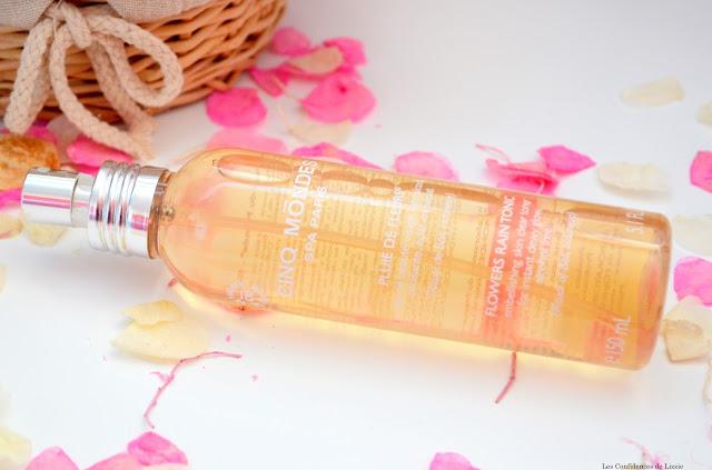 eau rafraîchissante - Cinq Mondes - teint lumineux - teint éclat - peau vivifiée - démaquillage - tonique - toniques floral