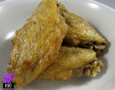 naked crispy chicken wings, that had been pressure steamed then air fried to crispy perfection