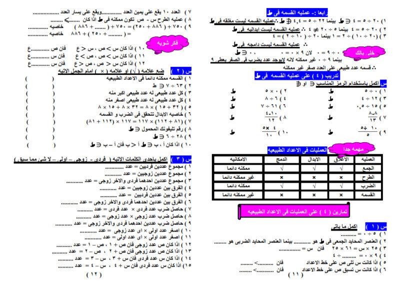 حمل المراجعة النهائية في الرياضيات الصف الخامس الابتدائي الترم الثاني.بوكليت رياضيات للصف الخامس