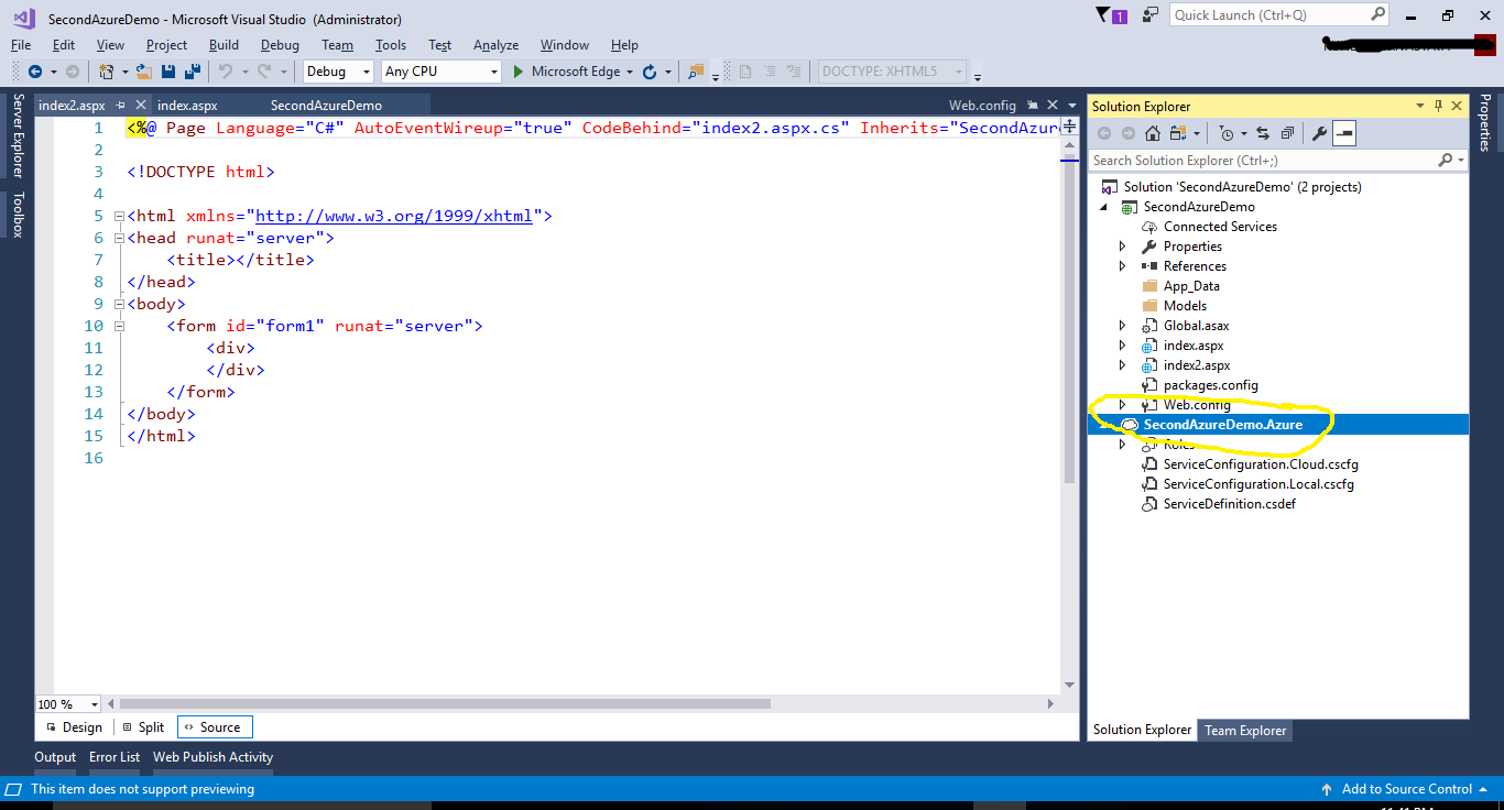 Create cloud project in Visual Studio 2017