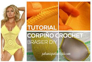 como colocar push up a corpiño crochet
