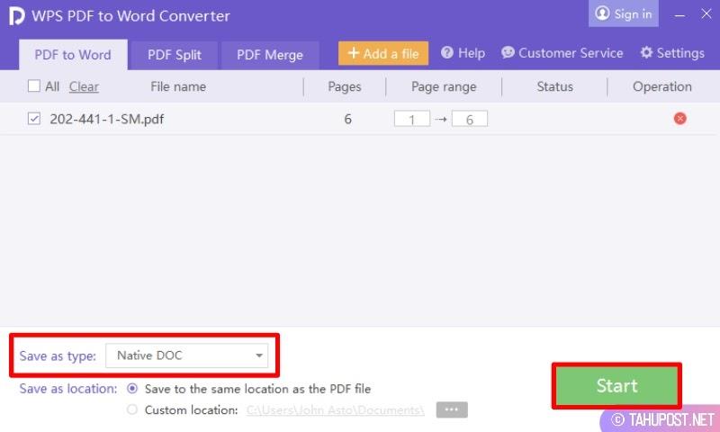 Cara Mengubah File PDF ke Word di HP Laptop Online Offline - Pilih Tipe, Klik Start dan Mulai Konversi