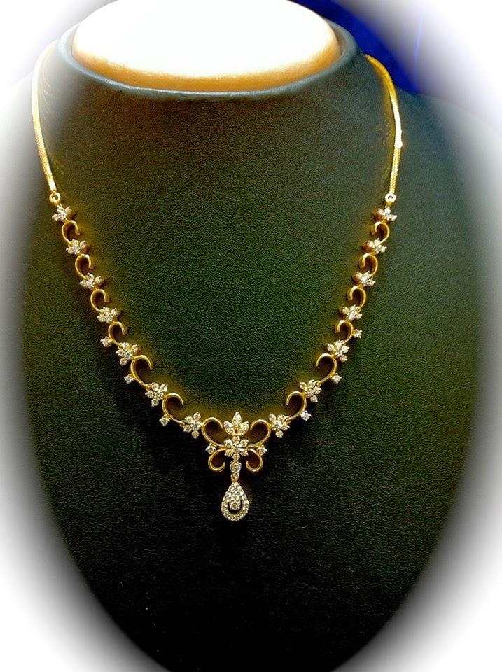 Simple Diamond Necklace Indian Jewellery Designs
