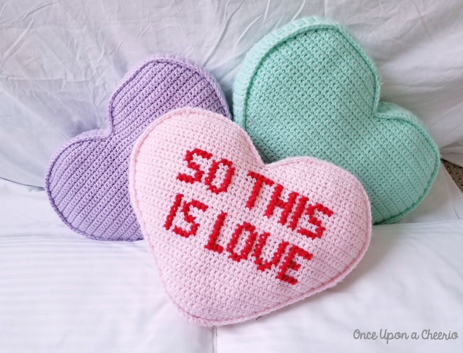 Cross Stitch Letters on Single Crochet Canvas Candy Heart Pillows