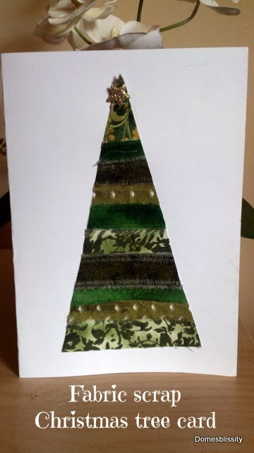 Fabric Scrap Christmas Tree Card Domesblissity