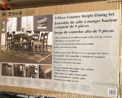 Costco 2000779 - Sunday family dinner is that much better with the Pulaski 9-piece Counter Height Dining Set