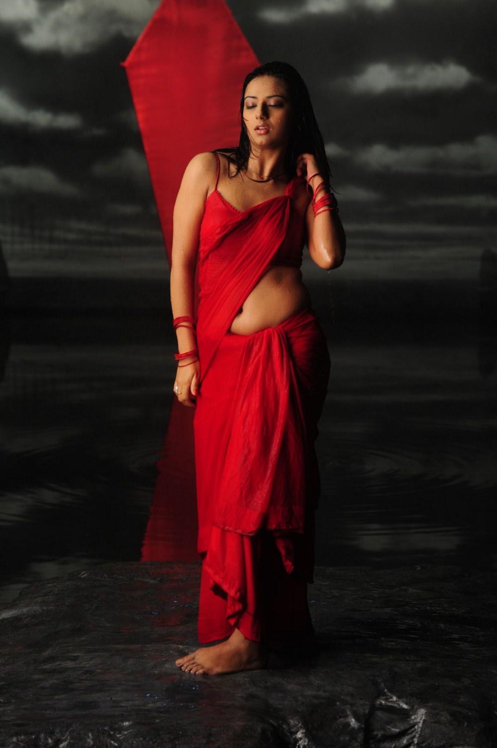 Isha Chawla Hot Red Saree Stills