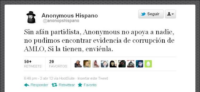 Anonymous, sin pruebas de corrupción de López Obrador.
