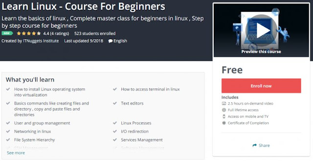 [100% Free] Learn Linux - Course For Beginners