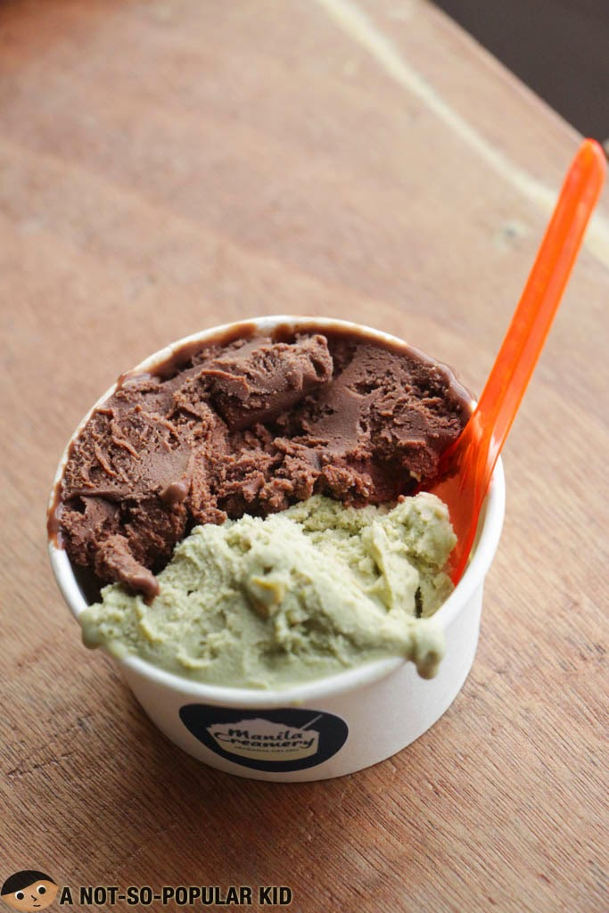 Double Chocolate (up) and Pistachio (down) gelato of Manila Creamery