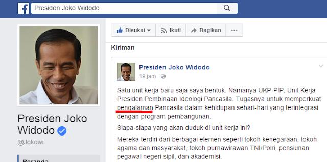 Postingan Presiden Jokowi di Facebook: Pengalaman Pancasila, Netizen: Pengalaman atau Pengamalan?