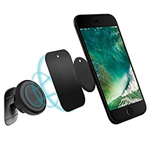 Magnetic Phone Car Mount, BoYao Universal Stick On Dashboard Magnetic Car Mount Holder Cradle, for Cell Phones and Mini Tablets with Fast Swift-snap Technology(Black).