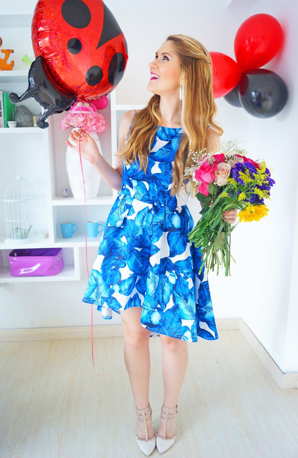 This blue floral dress is so feminine and pretty!
