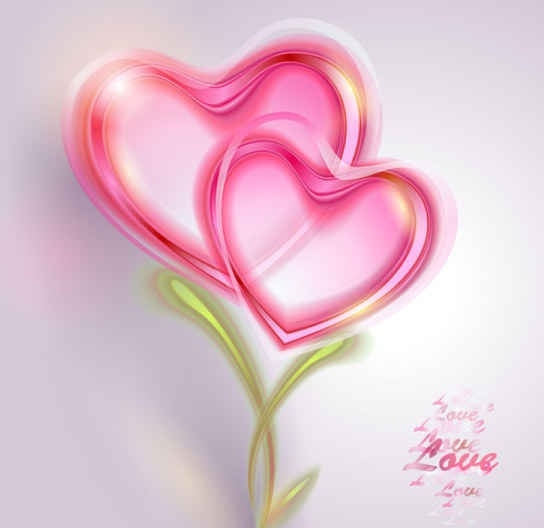 Pink Valentine card Vector Background Free vector