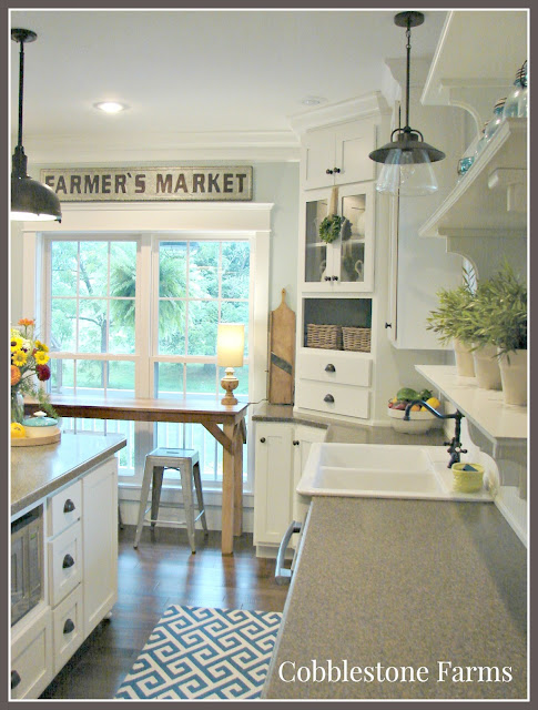 home tour, Cobblestone Farms, farmhouse, farm, farmhouse kitchen, beadboard, pendant lights, light and bright kitchen, kitchen island, turquoise, Ball jars, cottage kitchen, cottage, farm sink, open shelves