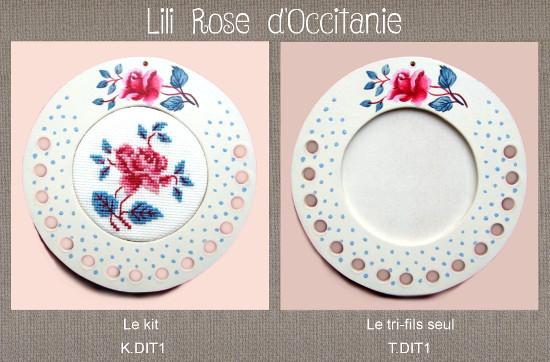 """Cadre / tri-fils bois peint rond """"Digoin"""" + grille assortie, broderie diamètre 6,5 cm. Broderie et point de croix"""