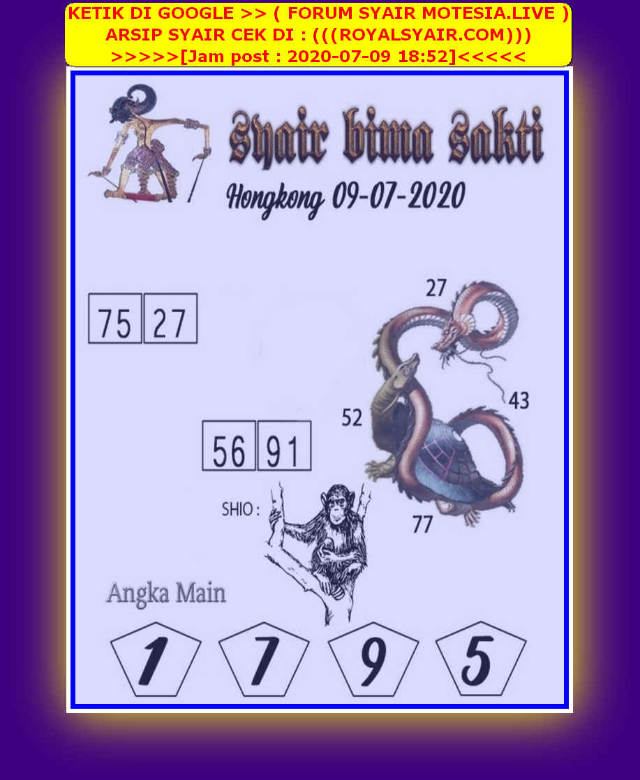 Kode syair Hongkong Kamis 9 Juli 2020 135