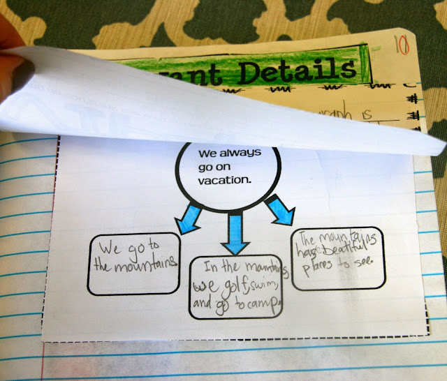 graphic organizer to teach how to add relevant details to a paragraph