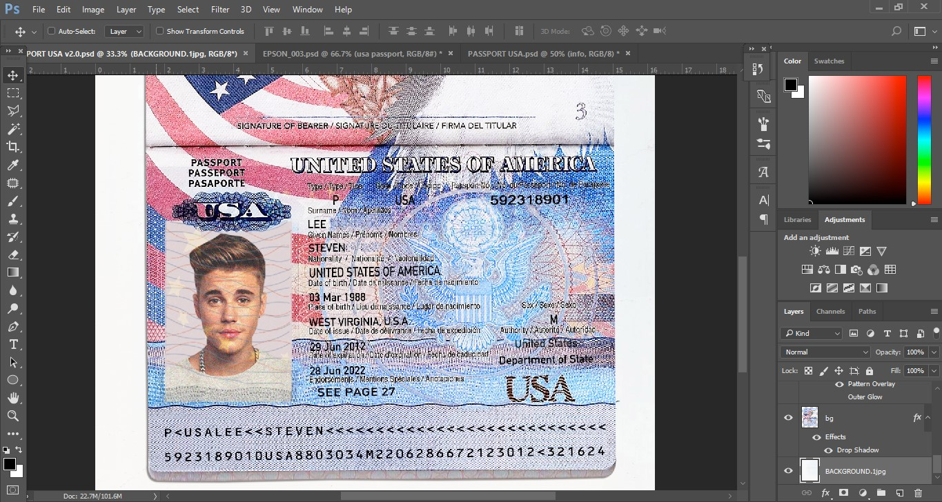 USA PASSPORT TEMPLATE PSD [ver 2.0] - PSD TEMPLATE USA, UK,EU,CA,AU ...