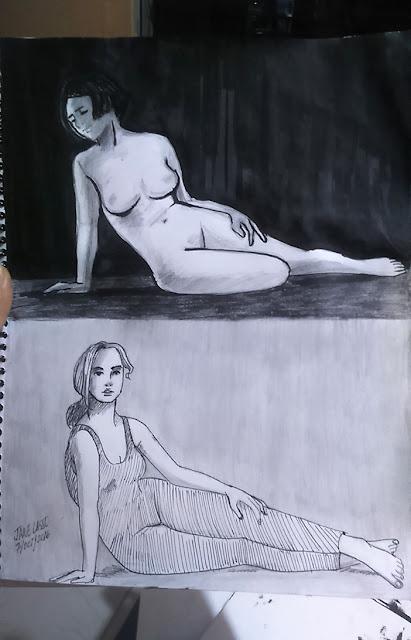 Dibujo con tinta china y lápiz