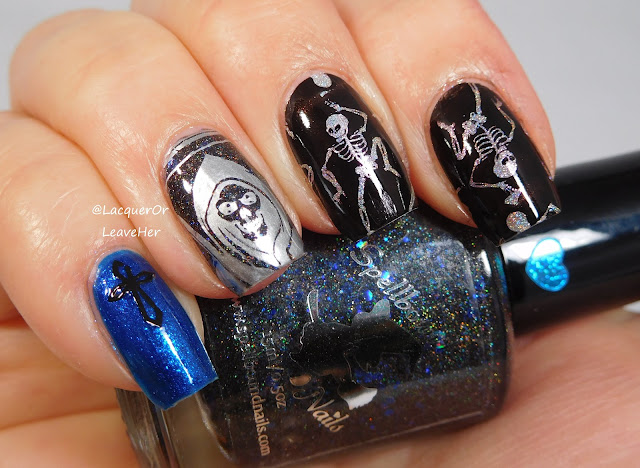 Dixie Plates DP 05 over Spellbound Nails Dementor, The Lady Varnishes Fairy Queen, and Girly Bits Cosmetics Sploosh