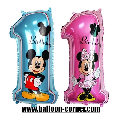 Balon Foil Angka 1 Mickey Mouse & Foil Angka 1 Minnie Mouse