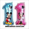 Balon Foil Angka 1 Mickey Mouse & Foil Angka 1 Minnie Mouse