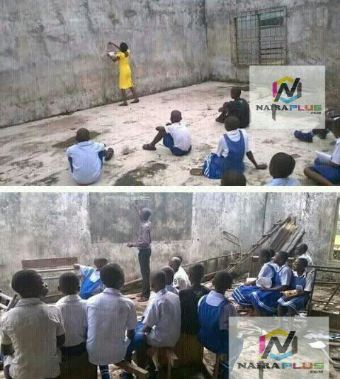 See the Poor classroom in a school located in IMO state