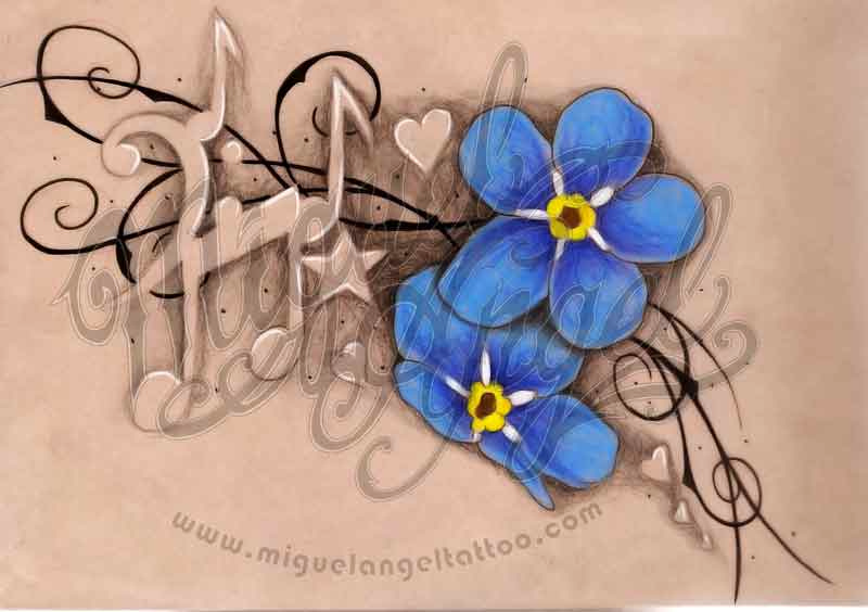ideie tatuaj nota muzilala si flori albastre
