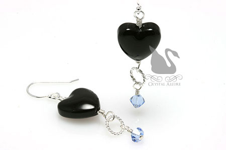 Onyx Heart Loss of Brother Awareness Earrings (E263-LB)