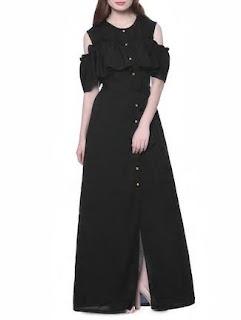 Ft Black Crepe Designer dress