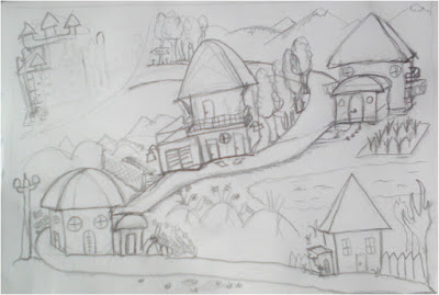 4 Houses Landscape drawing