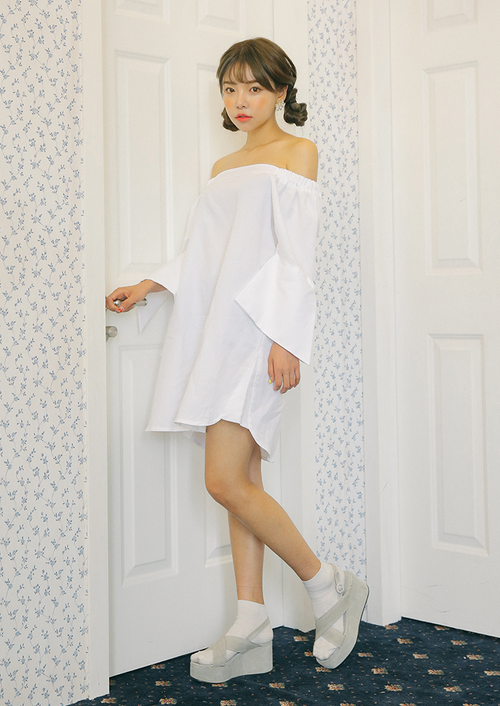 Off-Shoulder Bell Sleeve Dress