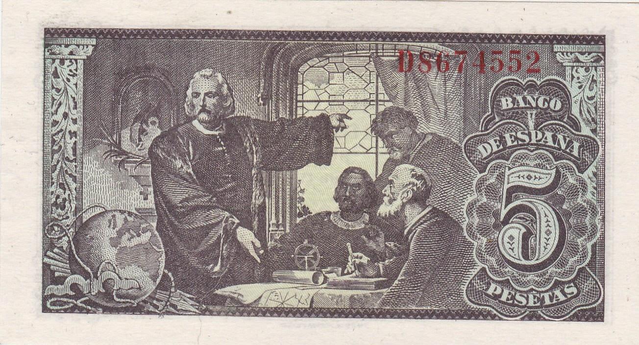 Spain money currency 5 Pesetas banknote 1943 Christopher Columbus in the Monastery of La Rabida