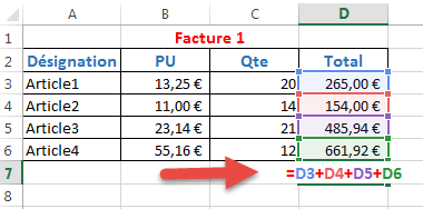 Formule simple pour calculer le total
