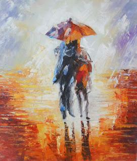 Влюбленная пара под цветным дождем. Чувства н емокнут!