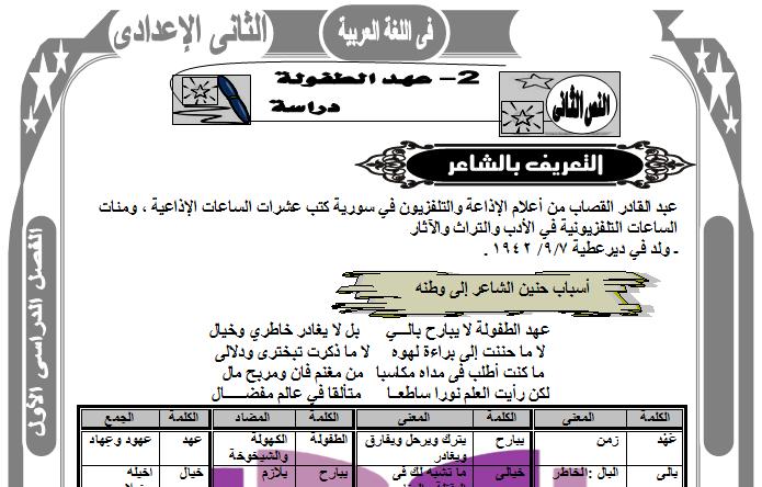 ملزمة لغة عربية الثانى الاعدادى ترم اول منهج 2017 شرح الذهبية