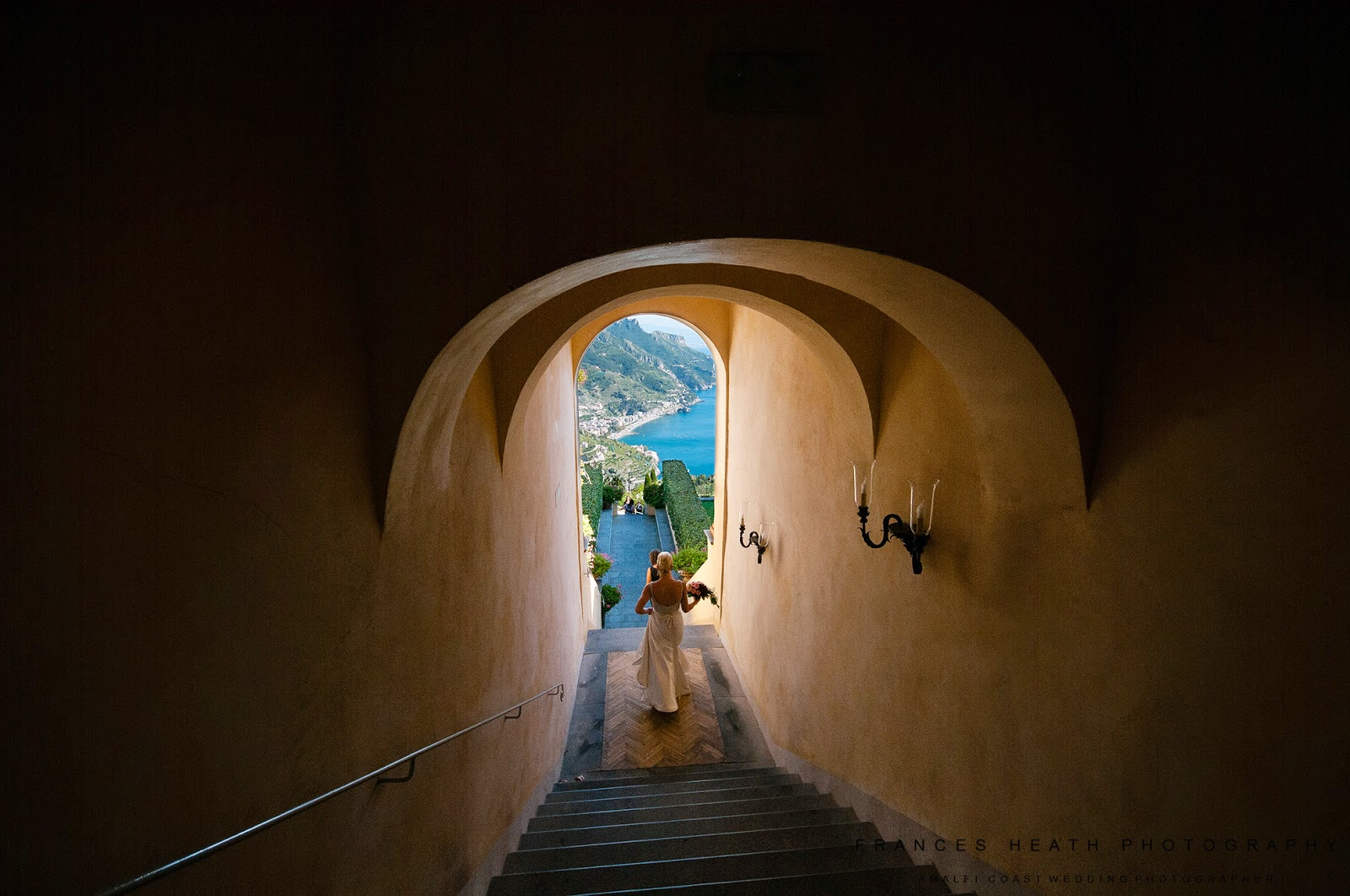 Bride arriving at wedding ceremony in Hotel Caruso