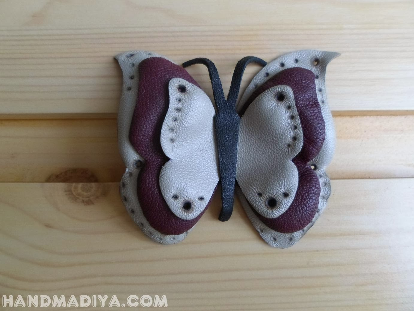 Barrette Butterfly leather DIY step-by-step tutorials