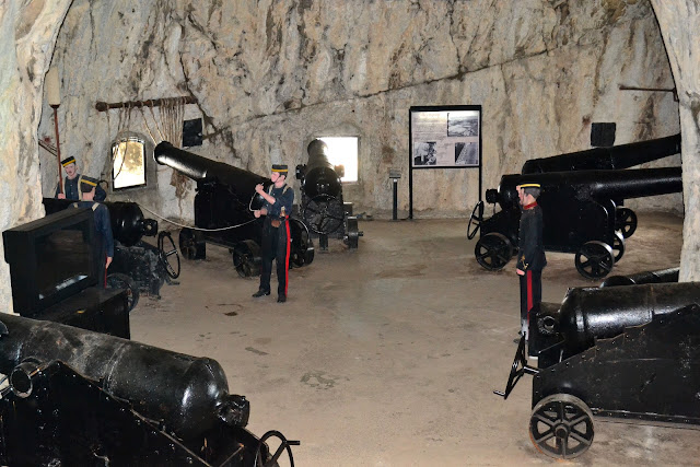 Huge chambers were carved within the Rock of Gibraltar to aid the British military in their defense against the Spanish and French invading forces.