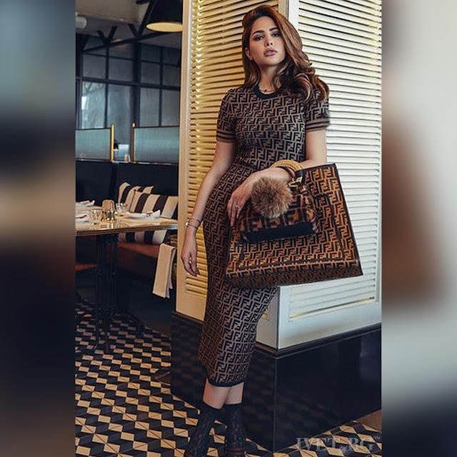 Κοντομάνικο μεσάτο μίντι καφέ φόρεμα PETRA BROWN