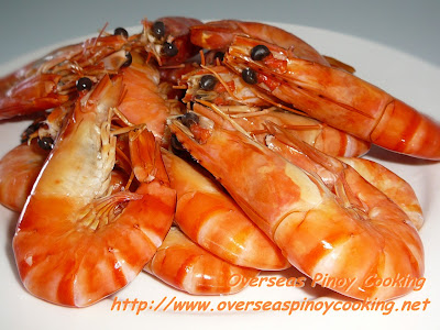 Halabos na Hipon o Sugpo, Steamed Shrimp or Prawns