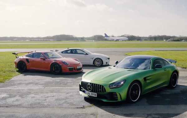 Porsche 911 GT3 RS vs BMW M4 GTS vs Mercedes-AMG GT R (video)